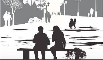 couple-sitting-on-a-bench-vector-1209675
